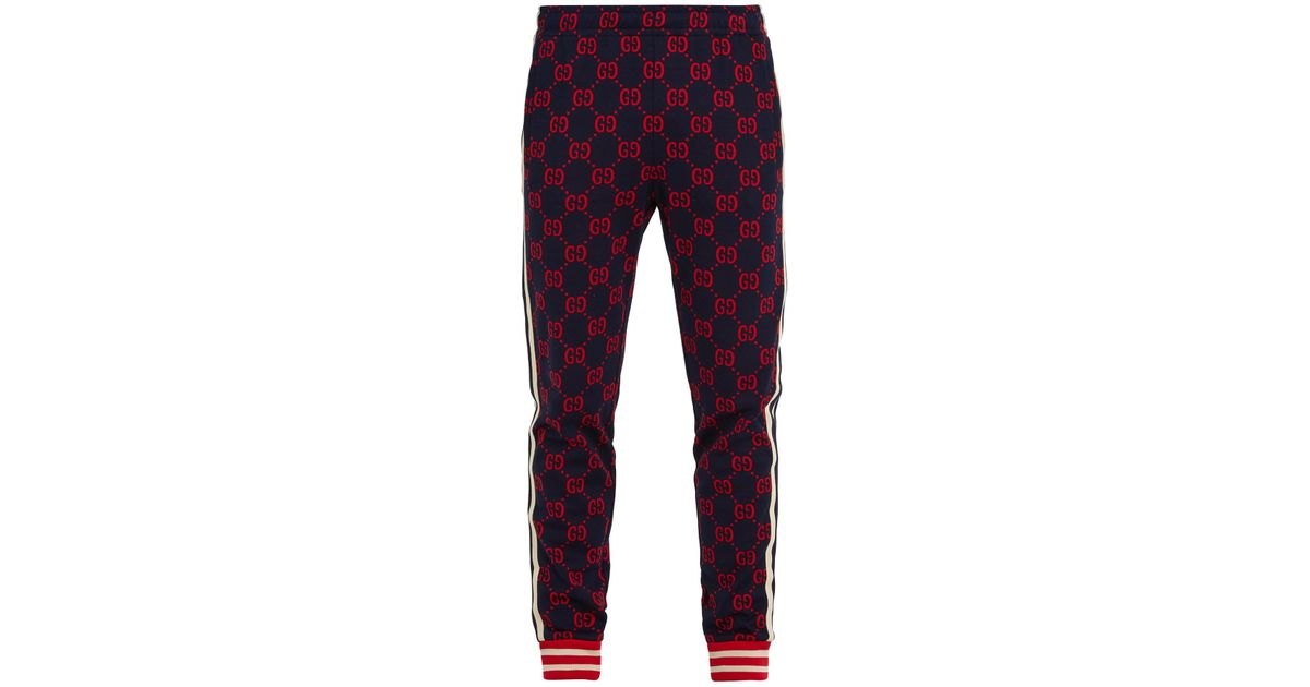 041e5a8af Gucci Gg-jacquard Slim-leg Cotton-jersey Track Pants in Blue for Men - Lyst