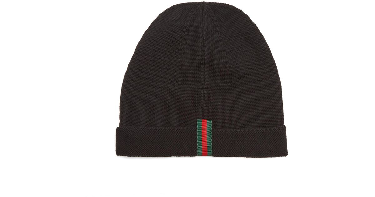 76546c9297d Lyst - Gucci Web-trimmed Wool Beanie Hat in Black for Men