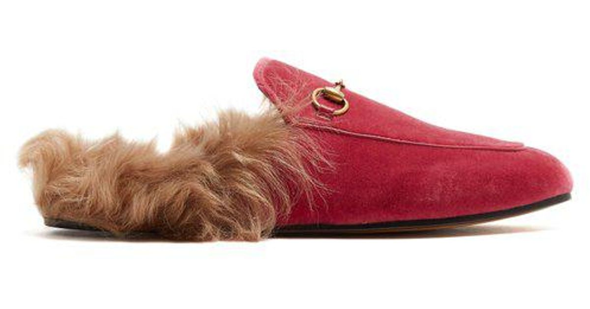 015a90f2521 Lyst - Gucci Princetown Shearling-lined Velvet Loafers in Pink