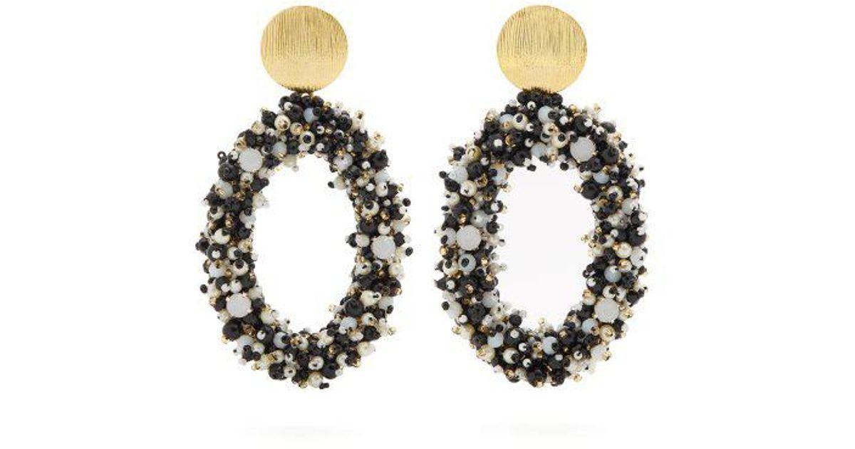 Bead-embellished hoop-drop earrings Carolina Herrera AOQa18Ql76