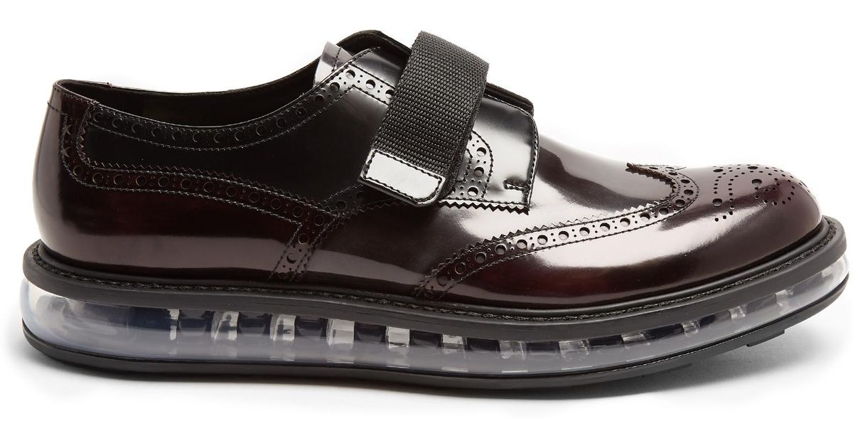 Lyst - Prada Bubble-midsole Monk-strap Leather Shoes in Black for Men 7409639898dc