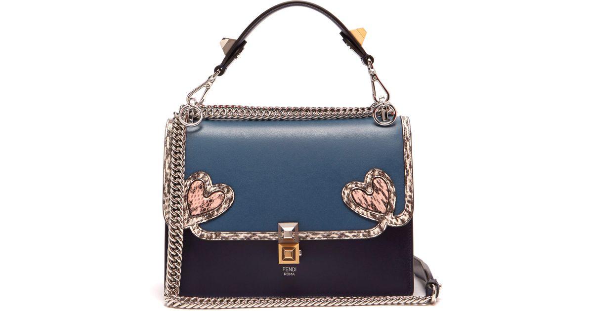 041b935ccac Fendi Kan I Heart Detail Leather Shoulder Bag in Blue - Lyst
