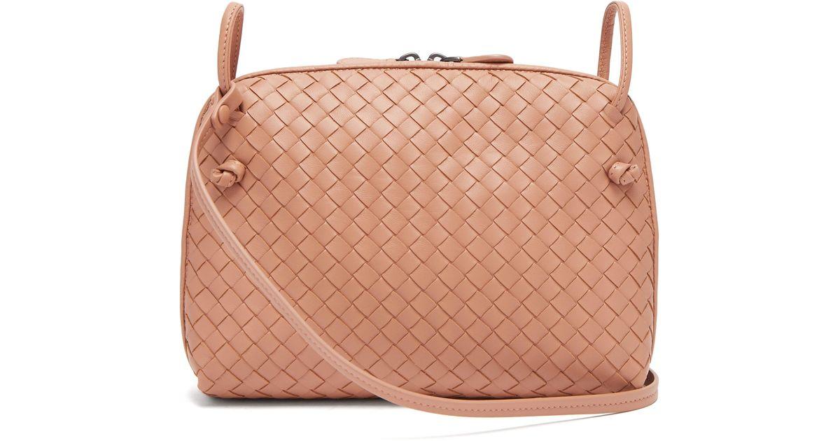 Bottega Veneta Nodini Small Intrecciato Leather Cross-body Bag in Natural -  Lyst 5208ab4850d81