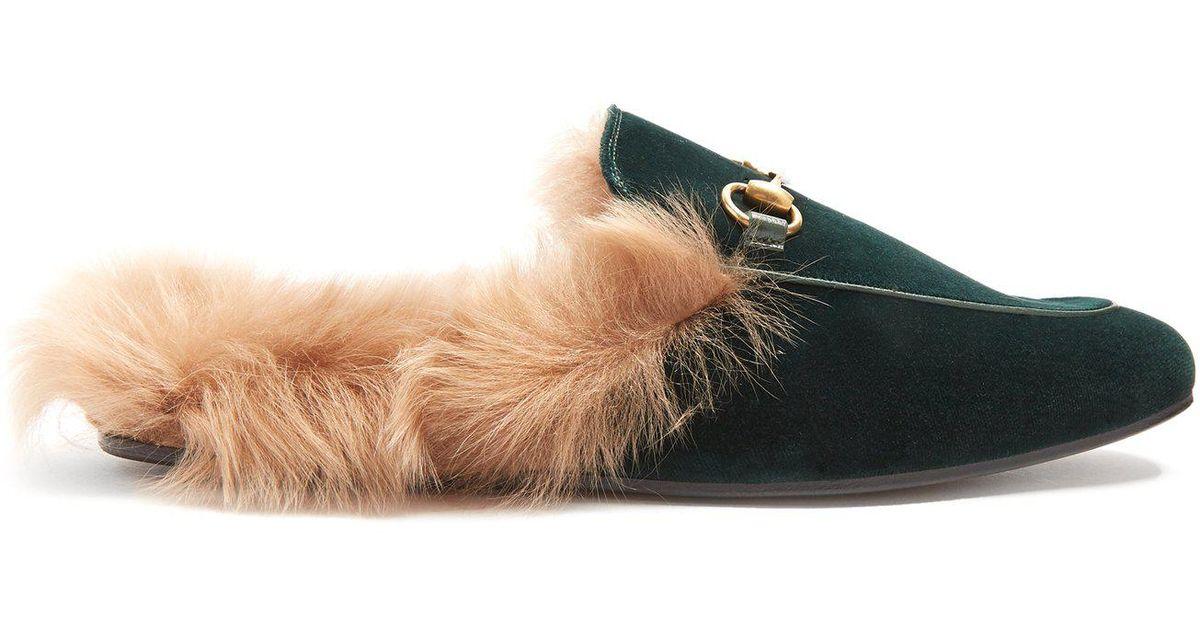 5a9b3db8862 Lyst - Mocassins en velours doublés de fourrure Princetown Gucci pour homme