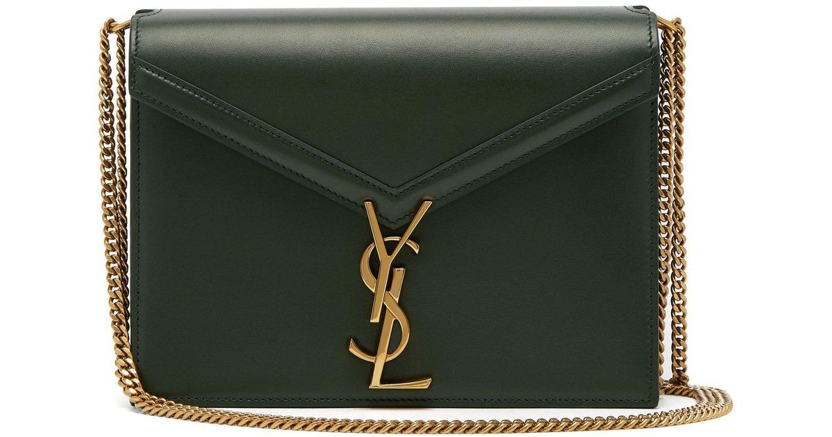 a9462a8bf6 Lyst - Saint Laurent Cassandra Ysl-clasp Leather Cross-body Bag in Green