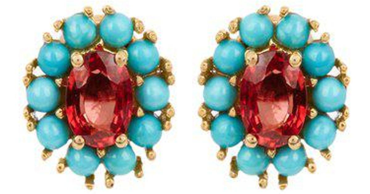 Ileana Makri Sapphire, turquoise & yellow-gold earrings