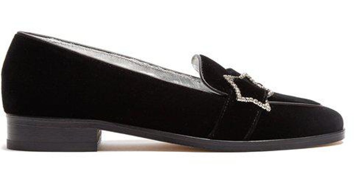 AlexaChung Embellished-star velvet loafers Get Authentic Sale Online Cost Cheap Top Quality Prices Cheap Price rWITw