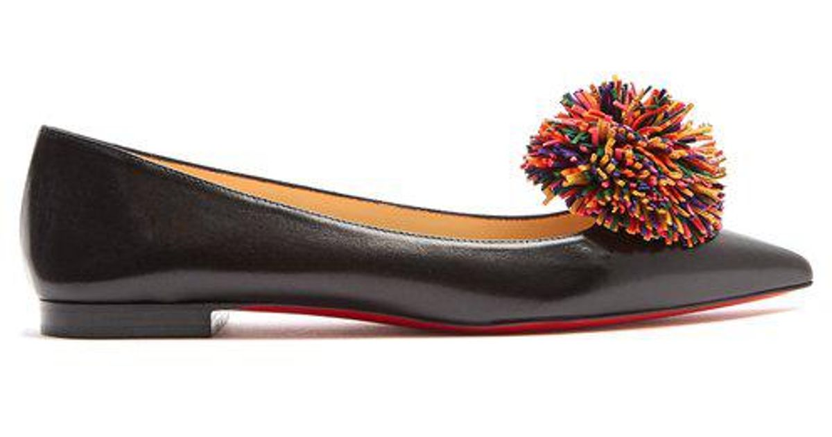 26aa1f347bc Christian Louboutin Konstantina Pompom-embellished Leather Flats in Black -  Lyst