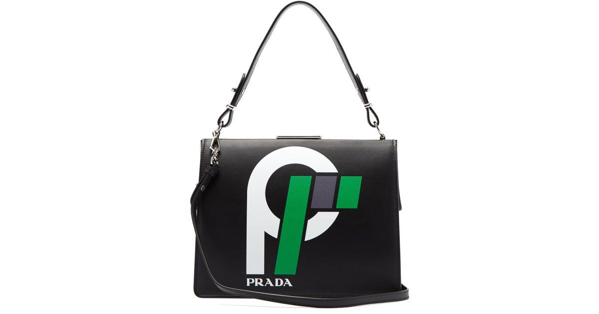 ff1e26c8c6 Prada Light Frame Leather Bag in Black - Lyst