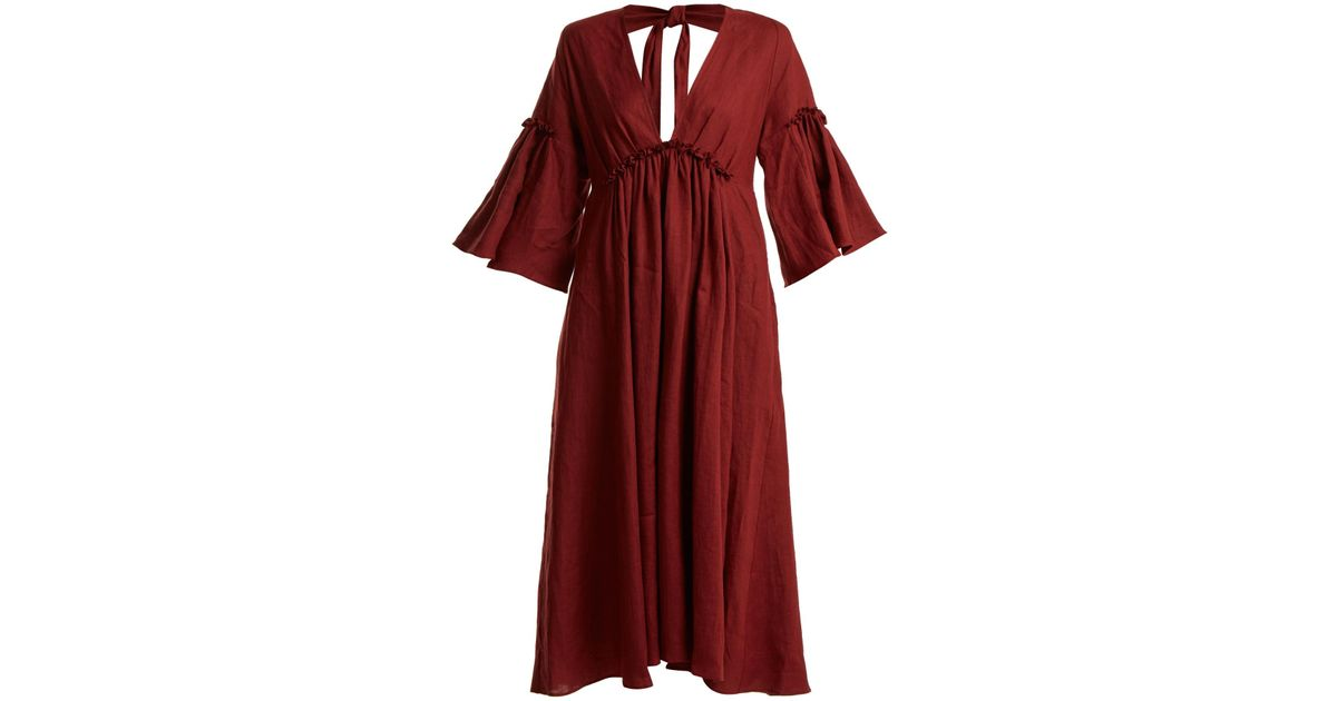 Georgiana tie-back linen dress Three Graces London fvoV2