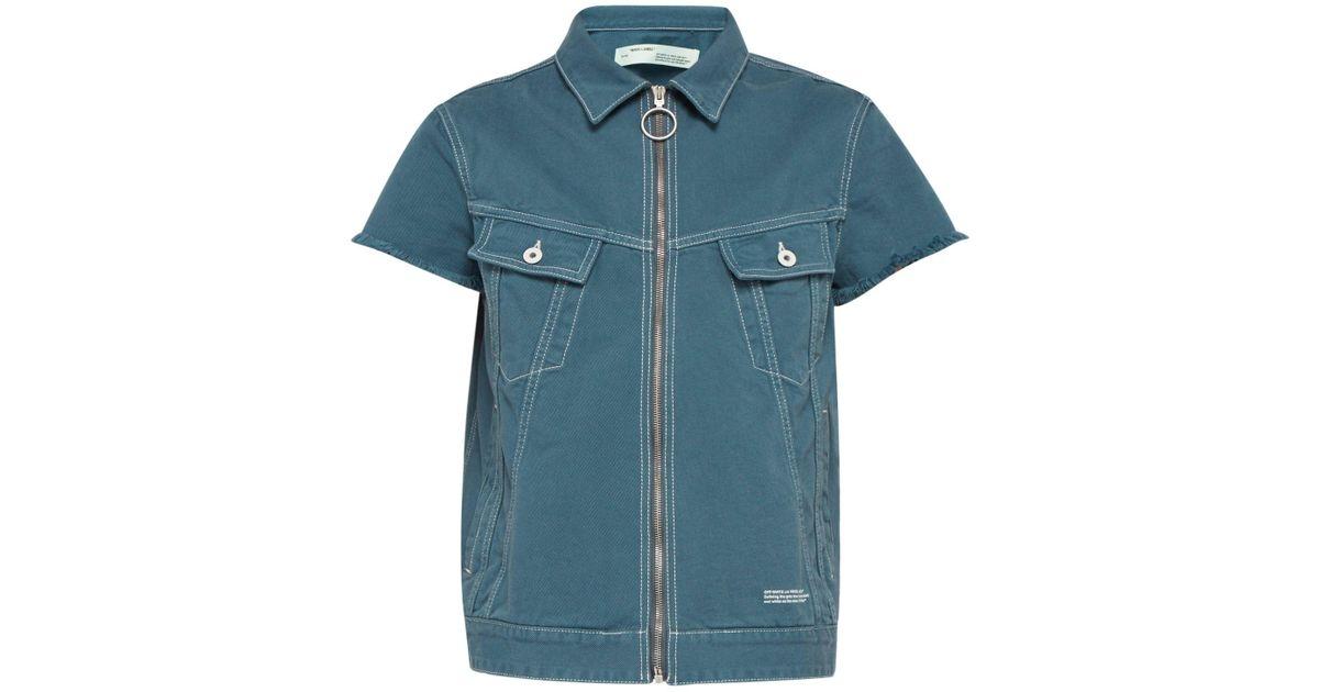 9a8386a0ca20e Off-White c/o Virgil Abloh Zip Front Short Sleeved Denim Jacket in Blue for  Men - Lyst
