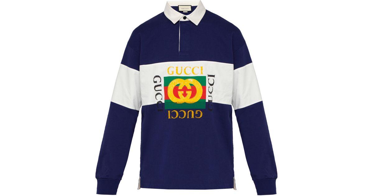 7fb1480e8bd Lyst - Polo de rugby en jersey de coton à logo Fake Gucci pour homme en coloris  Bleu