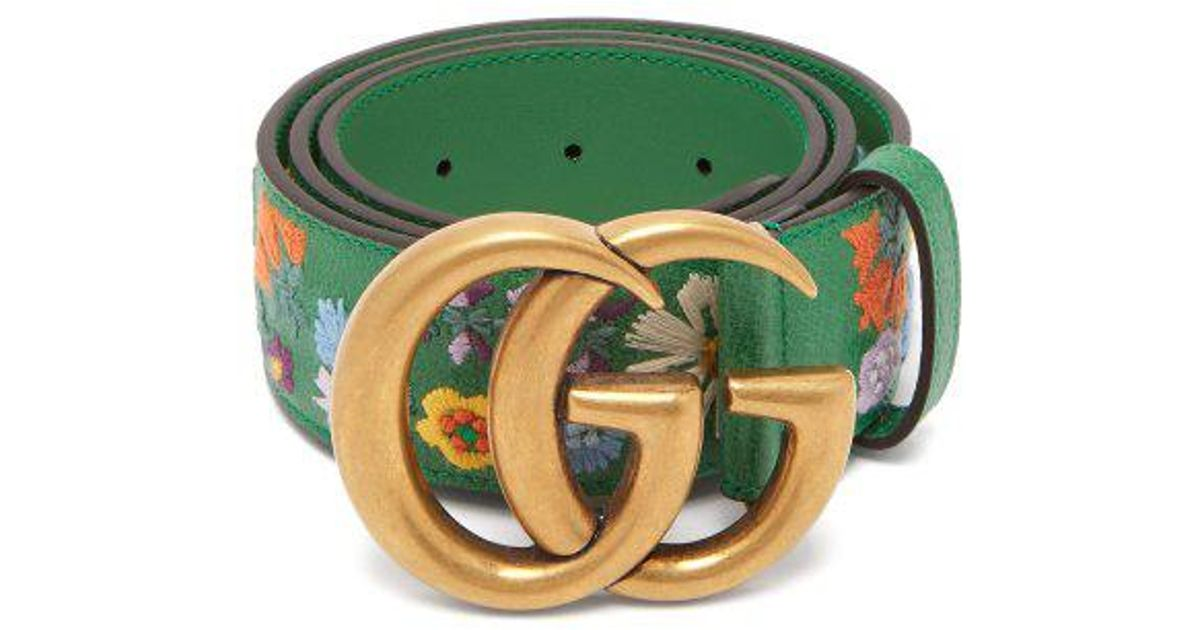 c86d87fda2e Lyst Gucci Fl Embroidered Gg Logo Leather Belt In Green