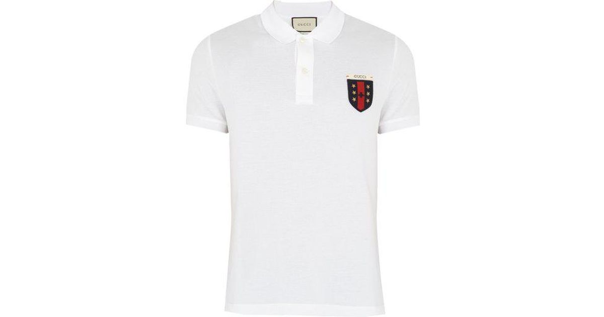 b95a2dcd4 Gucci Crest-appliqué Stretch-cotton Polo Shirt in White for Men - Lyst
