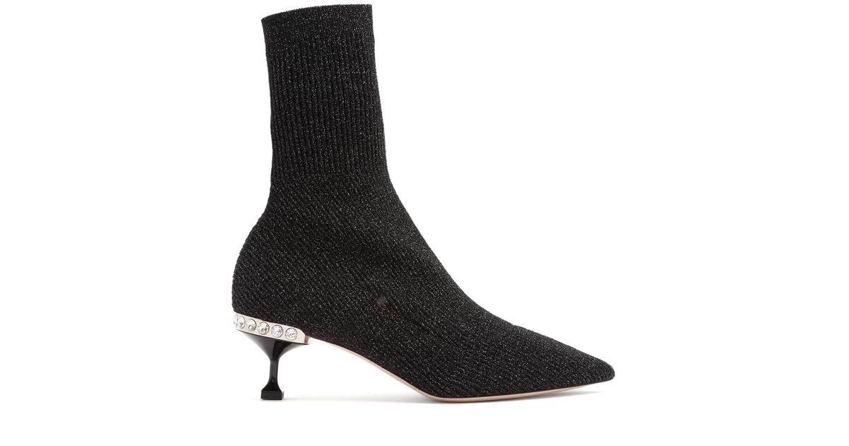 magasin en ligne 5a662 3c425 Miu Miu - Black Bottines effet chaussette en maille côtelée - Lyst