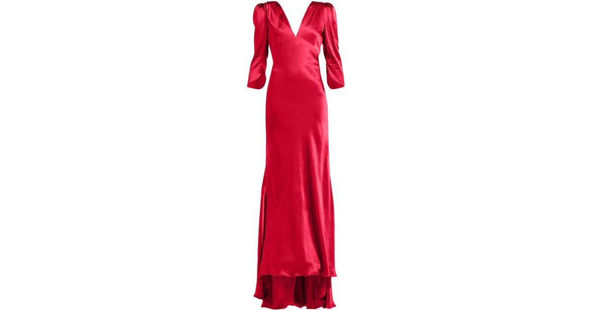 dcc56d02efd1 Maria Lucia Hohan Derya Gathered Shoulder Silk Satin Maxi Dress in Red -  Lyst
