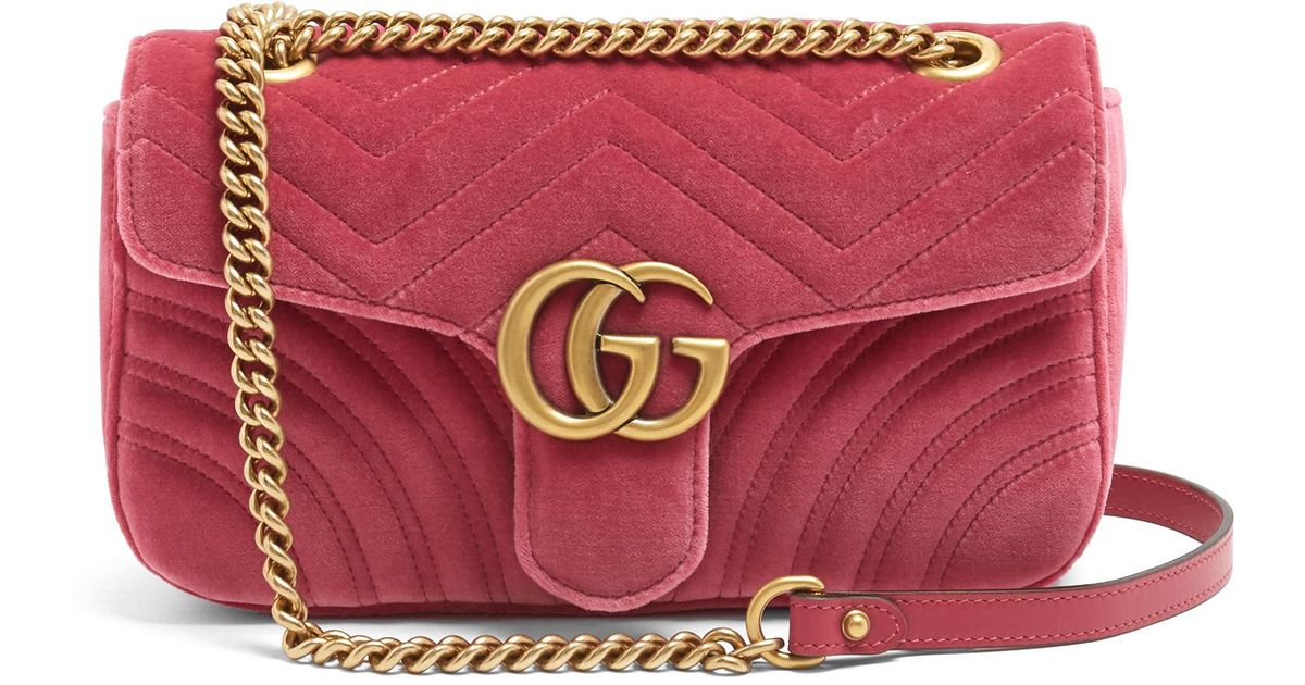224e22a025d1 Lyst - Gucci GG Marmont Small Quilted-velvet Cross-body Bag in Pink