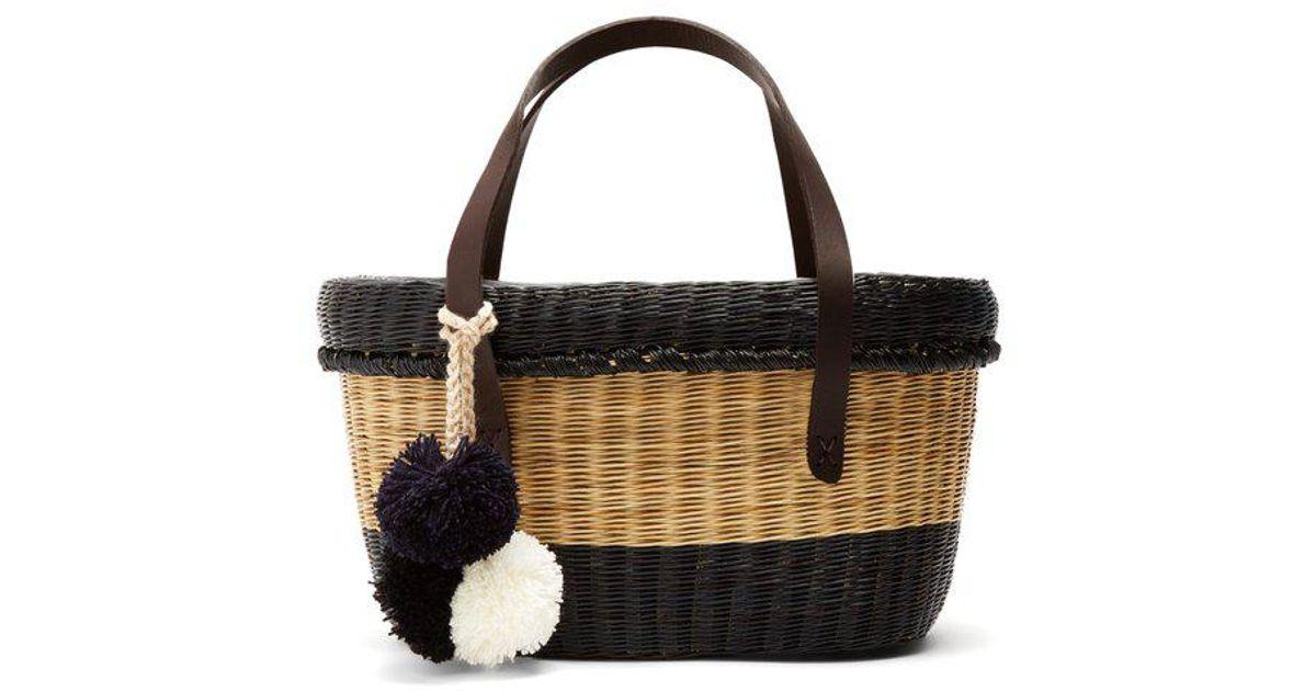 Serenella striped wicker basket bag Sophie Anderson iilHRK