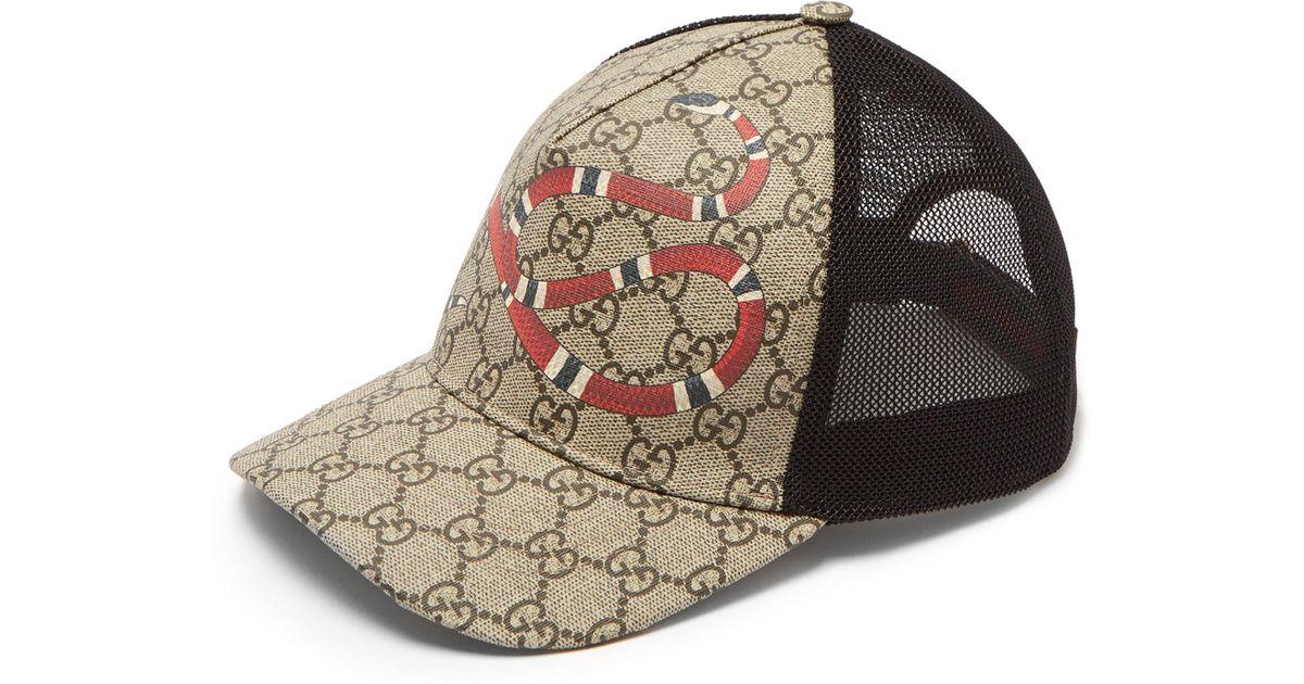 b596d3412de Gucci Gg Supreme And Kingsnake Print Mesh Cap in Natural for Men - Lyst