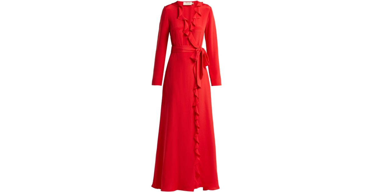 e5765d6e705 Goat Hollywood Ruffle Trimmed Silk Dress in Red - Lyst