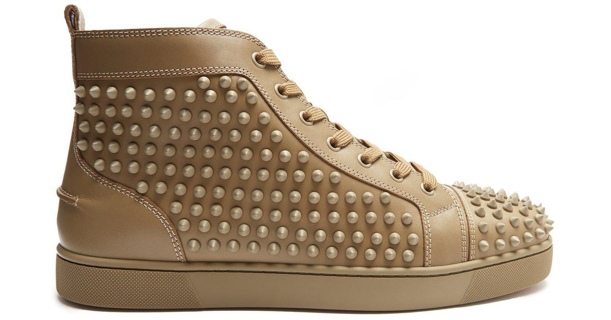 93ddd12740dc Lyst - Christian Louboutin Louis Spike Embellished High Top Trainers for Men