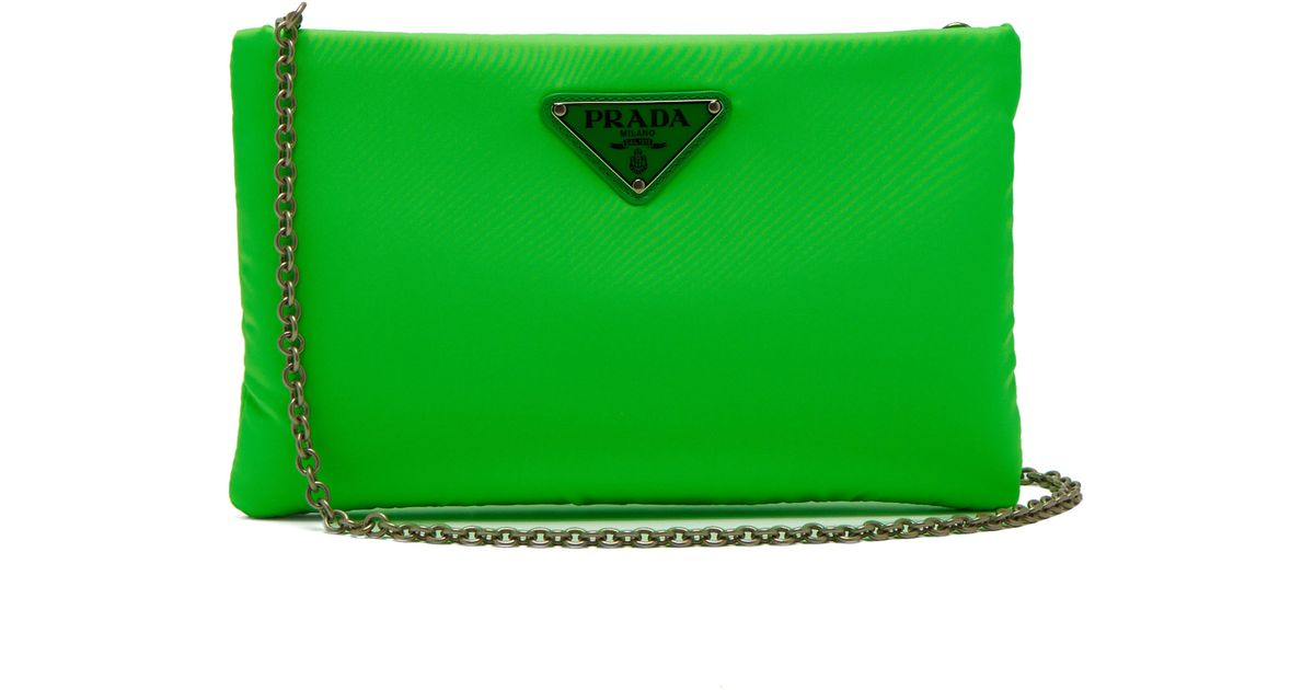 9128446877378d Prada Nylon Padded Clutch in Green - Lyst