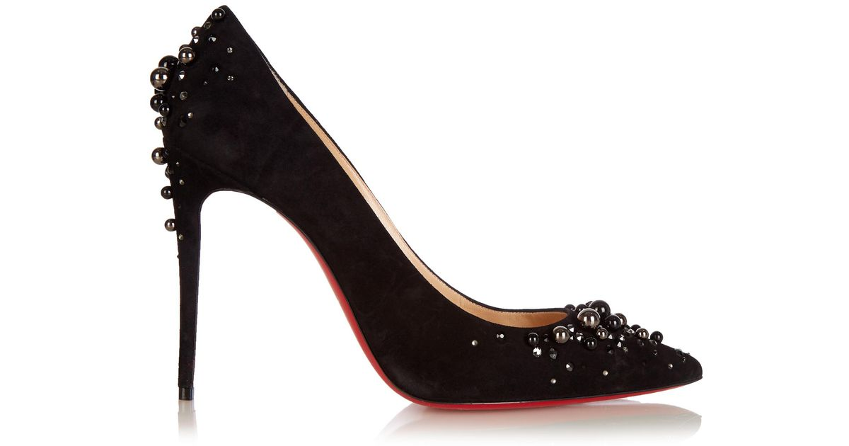3eafcc5cb92 ... shopping lyst christian louboutin candidate 100mm suede pumps in black  96dba 33382