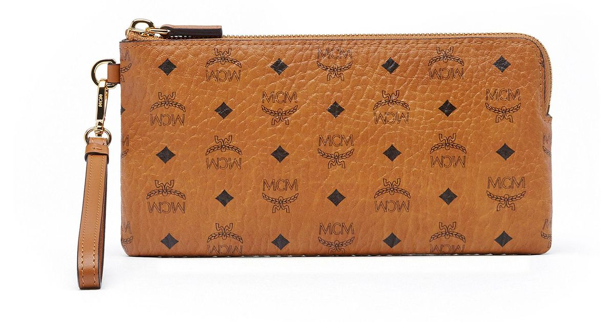 68867d0b8 MCM Tech Pouch In Visetos Original in Brown - Lyst