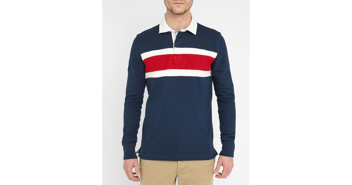 tommy hilfiger navy rugby tricolour polo shirt in blue for. Black Bedroom Furniture Sets. Home Design Ideas