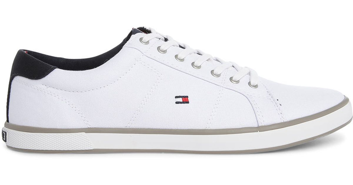 Tommy Hilfiger White Harlow Canvas Sneakers In White For