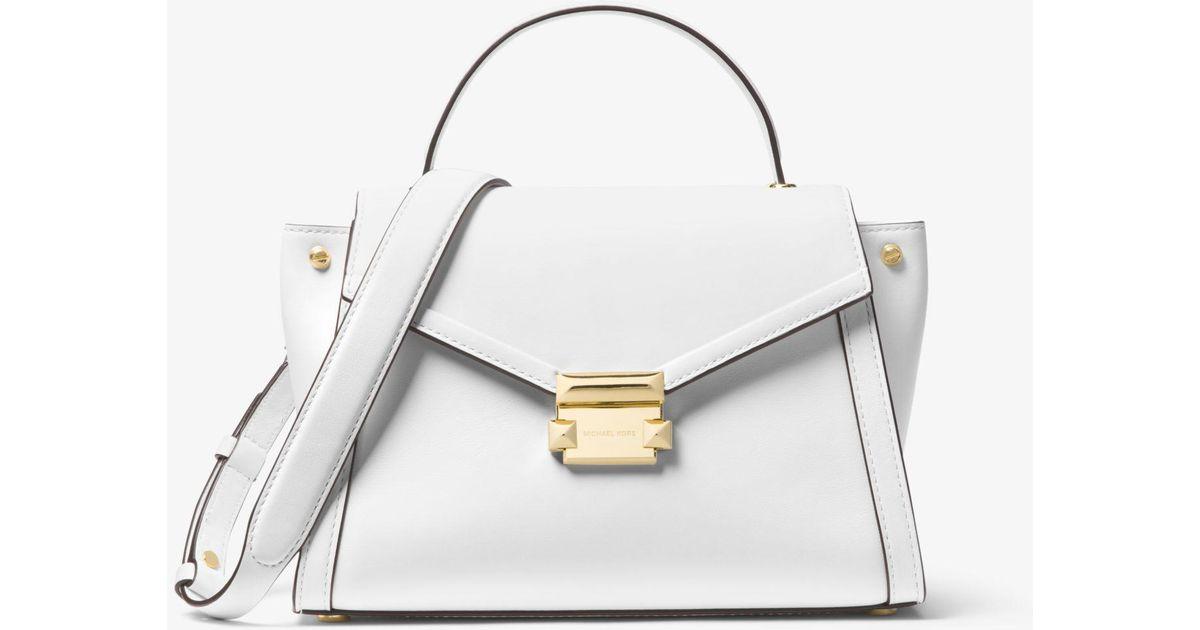 2d29d1f502054a Michael Kors Whitney Medium Leather Satchel in White - Lyst