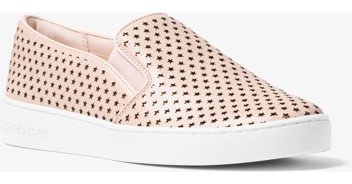 25e319cffefb7 Lyst - Michael Kors Keaton Perforated Leather Slip-on Sneaker in Pink