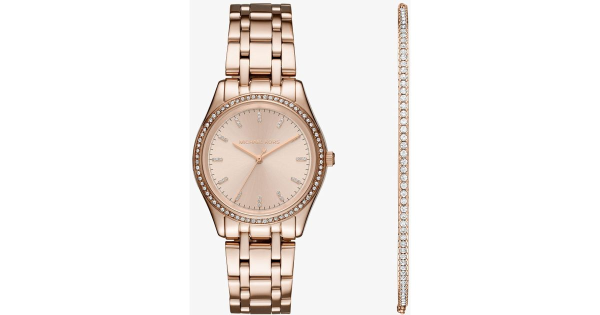 Lyst Michael Kors Kiley Rose Gold Tone Watch And Bracelet Set In
