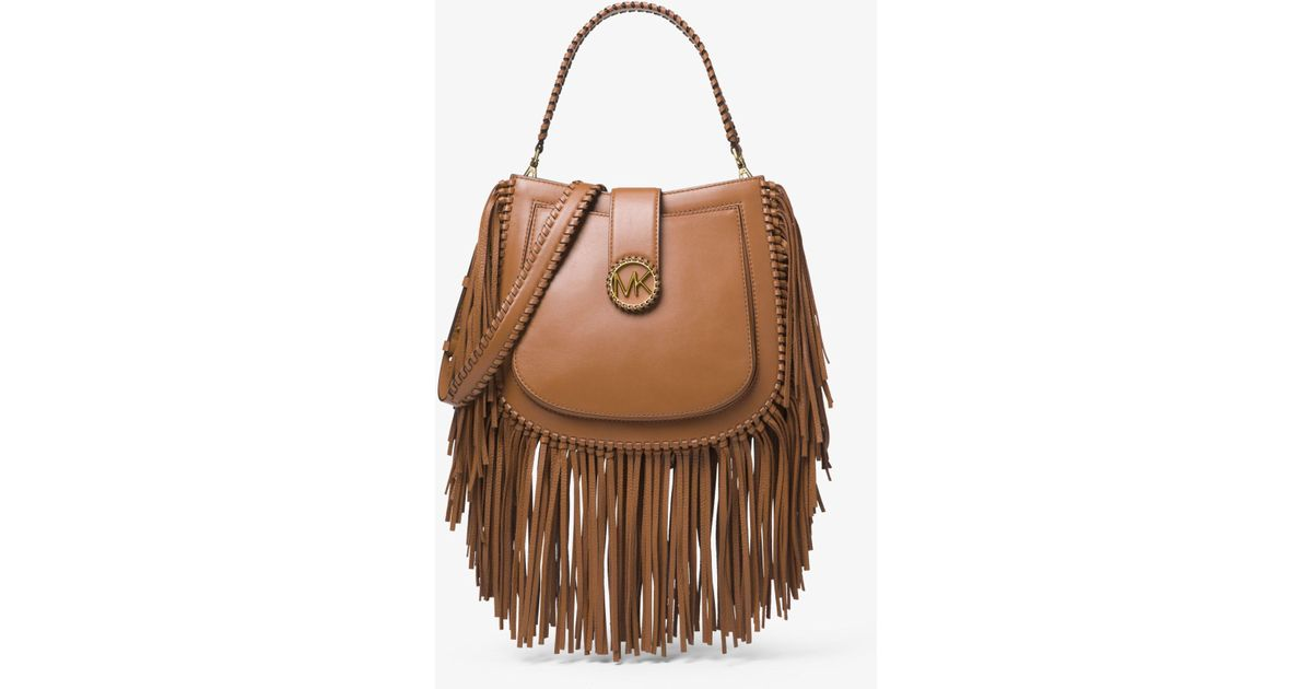 e4869ab47b89fc Michael Kors Lillie Medium Fringed Leather Shoulder Bag in Brown - Lyst