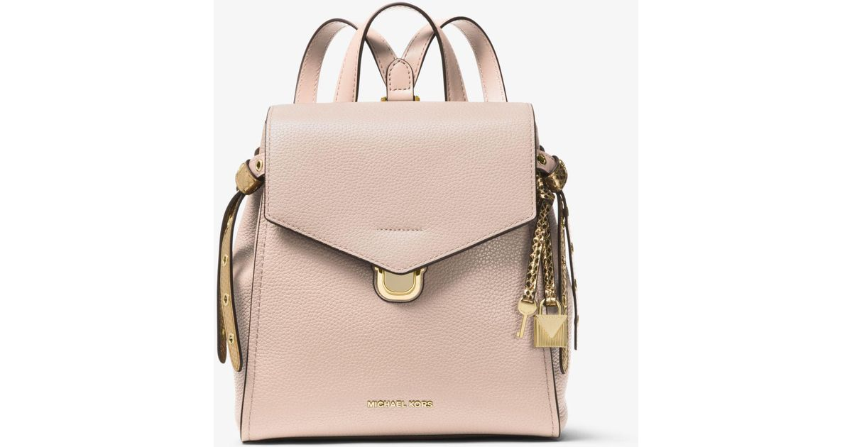 82a38e4ea172 ... reduced michael kors bristol small leather backpack in pink lyst d460e  ccf76