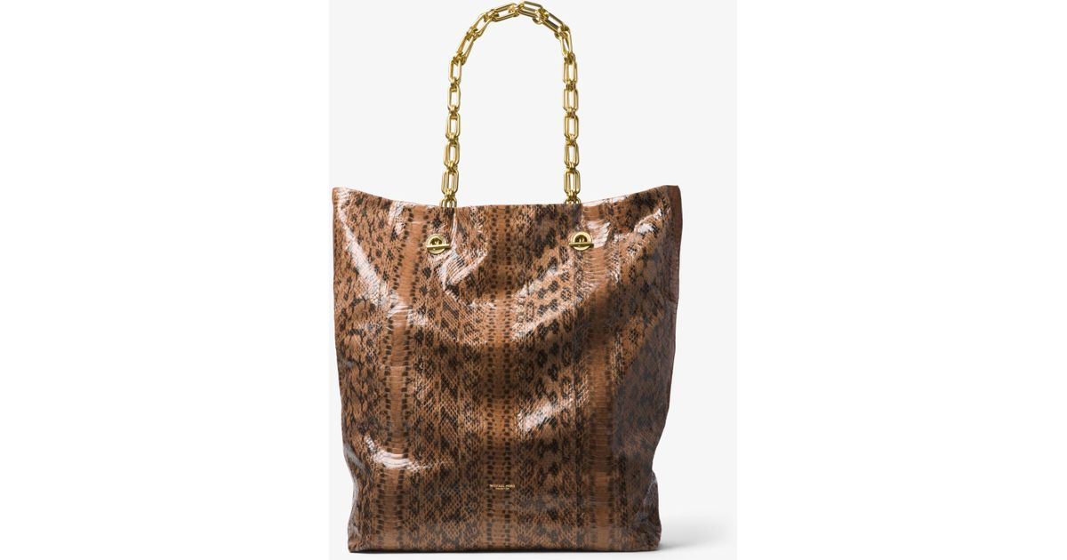 80e629c2c00f69 Michael Kors Angelina Extra-large Snakeskin Tote - Lyst