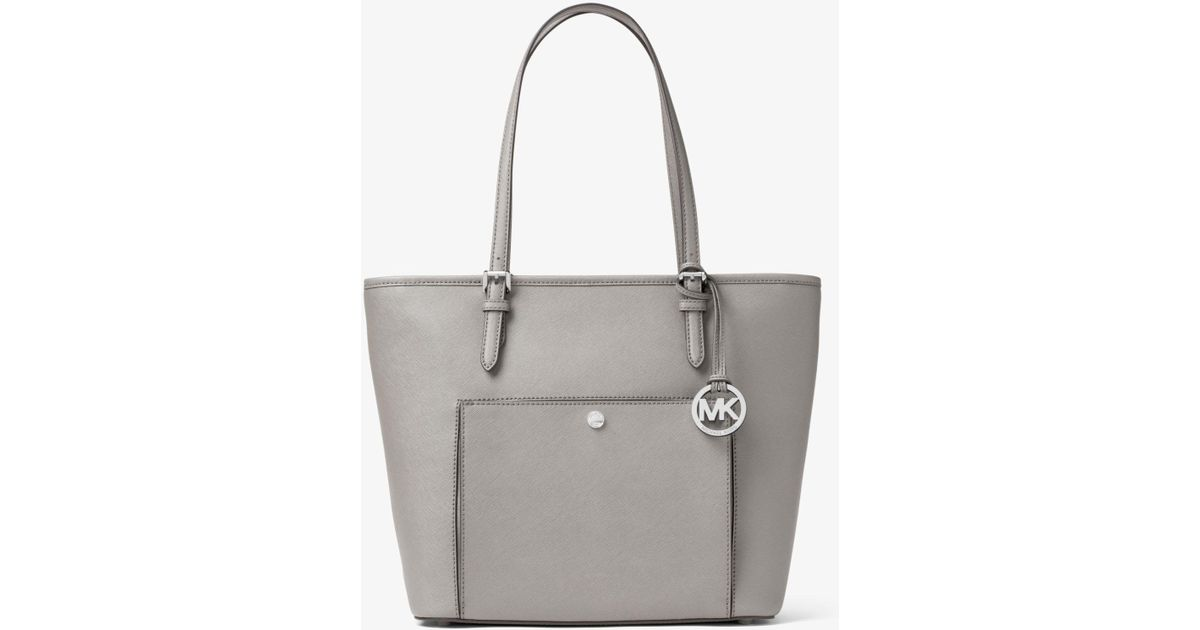 f227a9224356 Michael Kors Jet Set Large Saffiano Leather Tote Bag in Gray - Lyst