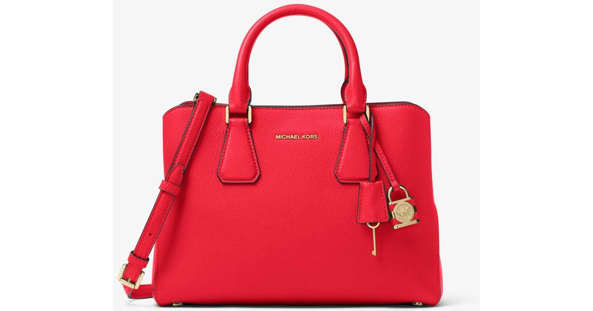 d528d8e02f Lyst - Michael Kors Camille Leather Satchel in Red