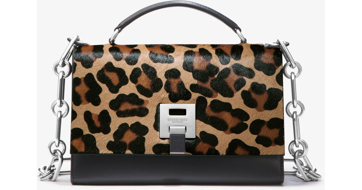 14500a642d70cf Michael Kors Bancroft Leopard Calf Hair Shoulder Bag - Lyst