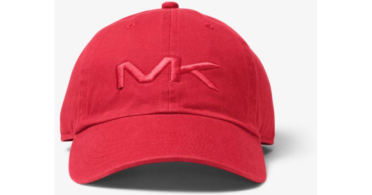 a3f88751fee Lyst - Michael Kors Logo Cotton Baseball Hat in Red for Men
