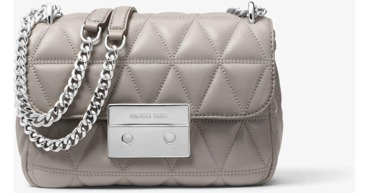 2df42434bdd6 Michael Kors Sloan Small Quilted Leather Crossbody Bag in Gray - Lyst