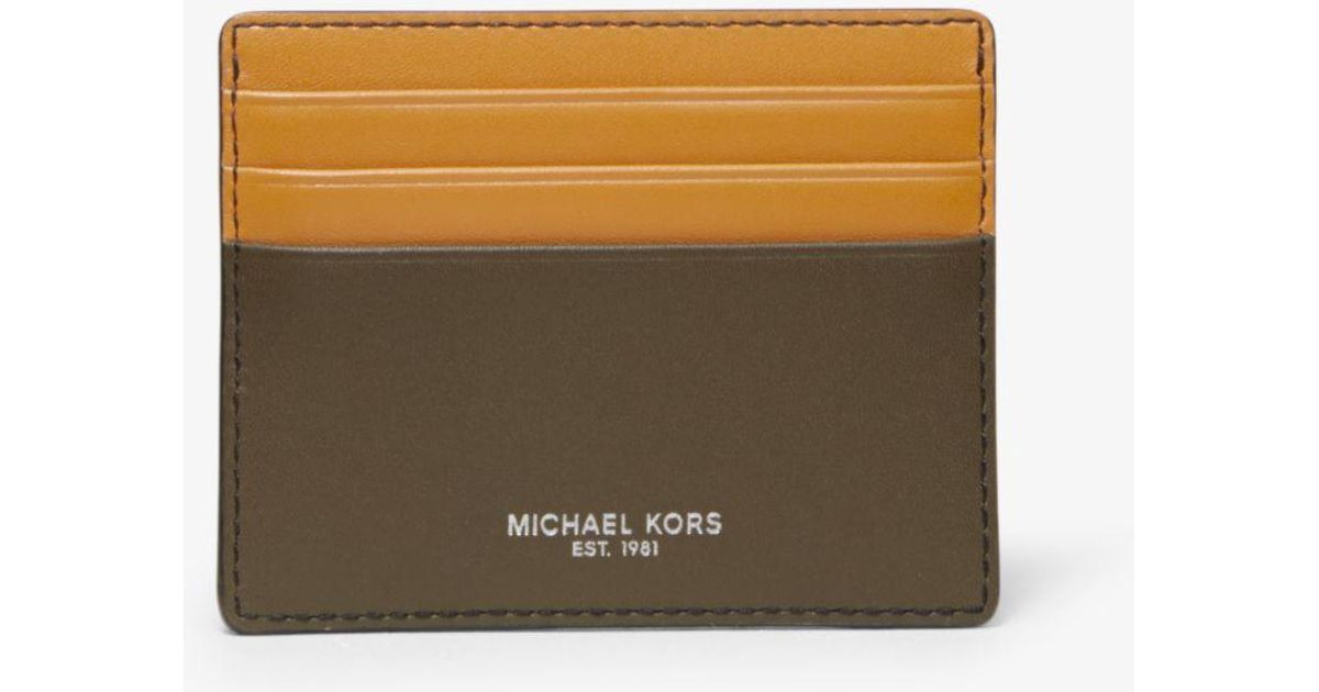 9bd8f8b6094665 Michael Kors Odin Tall Leather Card Case for Men - Lyst