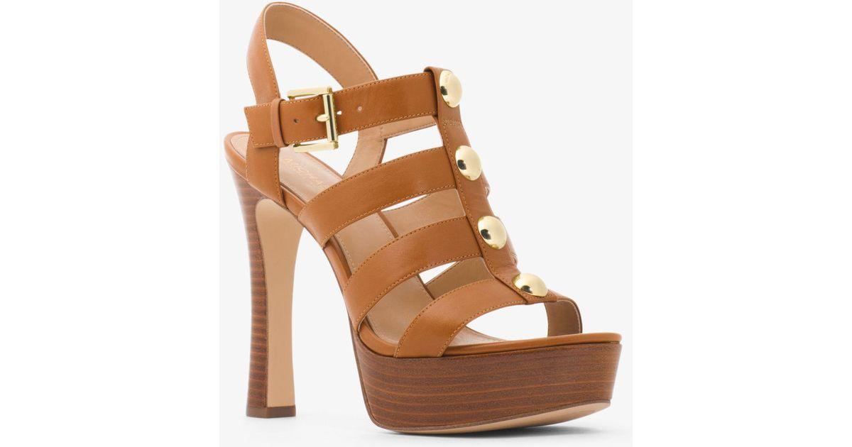 8f9c56aa381d Lyst - Michael Kors Inez Leather Platform Sandal in Brown