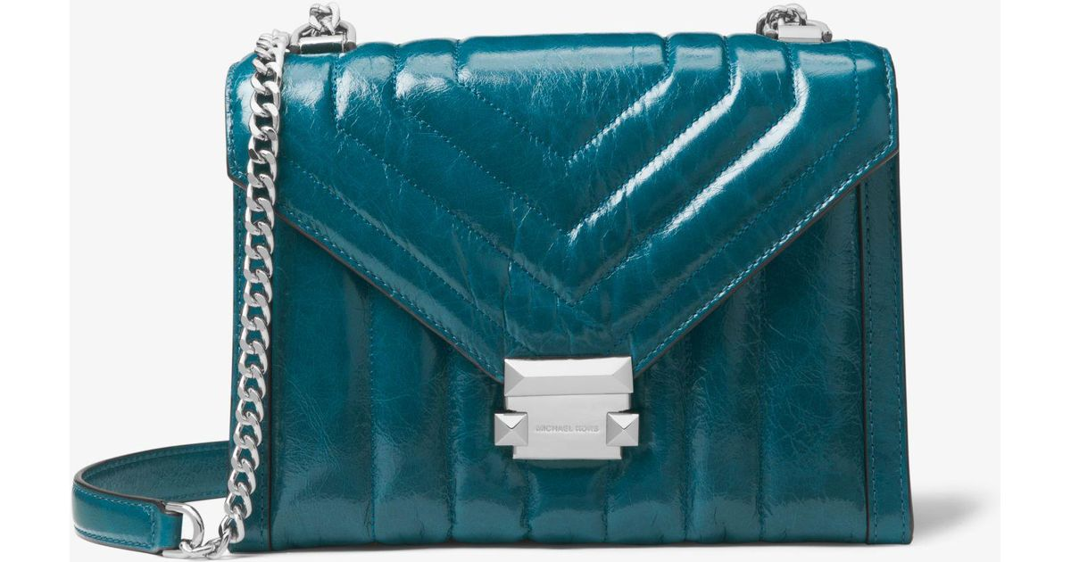 dc202b8870eb9c Michael Kors Whitney Large Quilted Leather Convertible Shoulder Bag in Blue  - Lyst