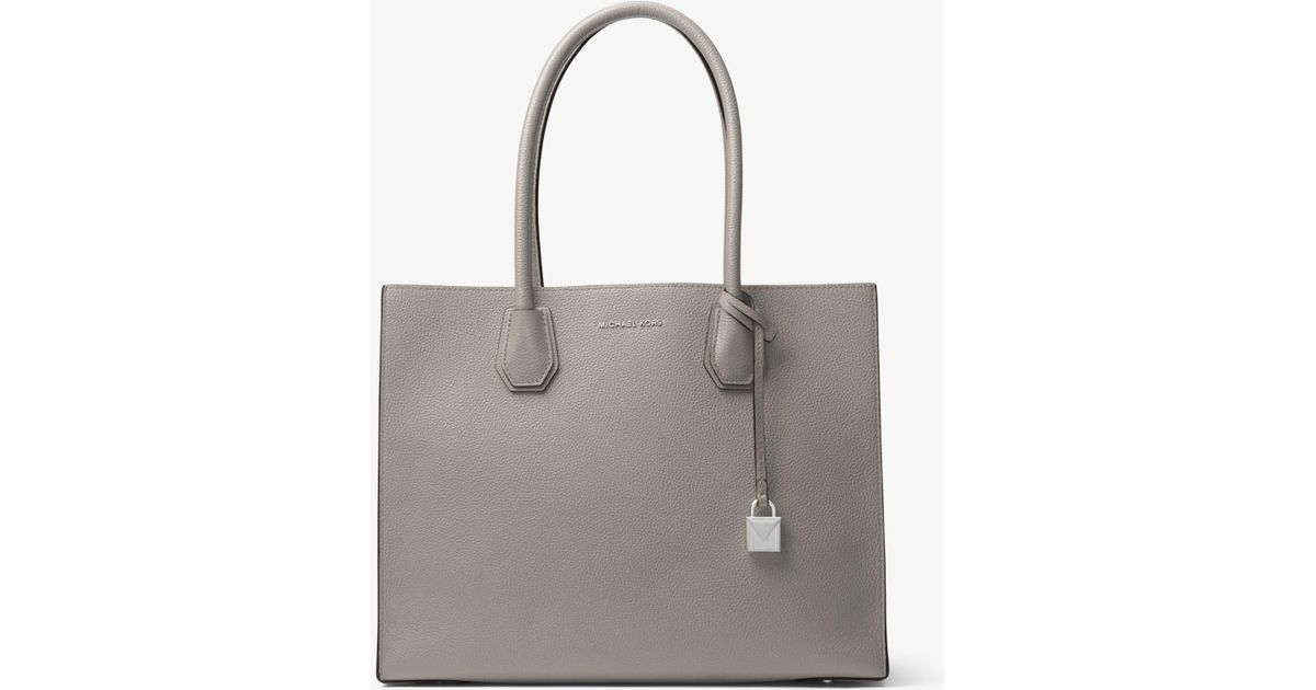 35841b7b9932d Michael Kors Mercer Extra-large Leather Tote in Gray - Lyst