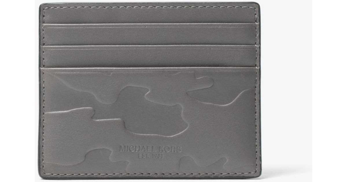 f048a50a8ef9 Lyst - Michael Kors Odin Tall Embossed-leather Card Case in Gray for Men