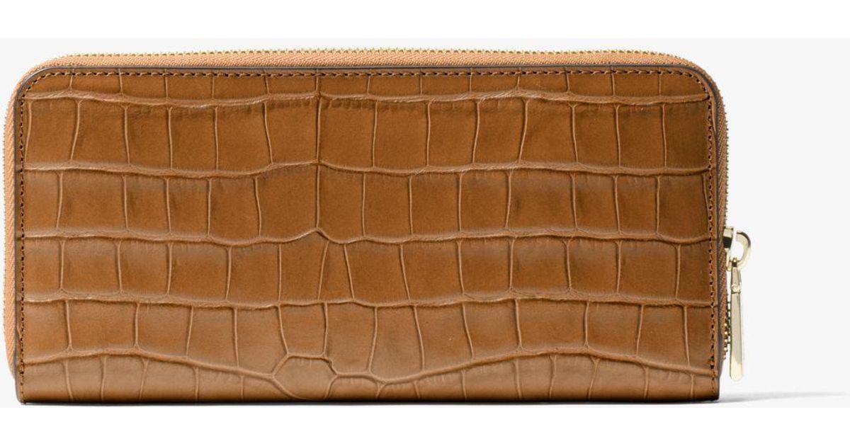 c0c2ba4c42af Michael Kors Mercer Embossed-leather Continental Wallet in Brown - Lyst