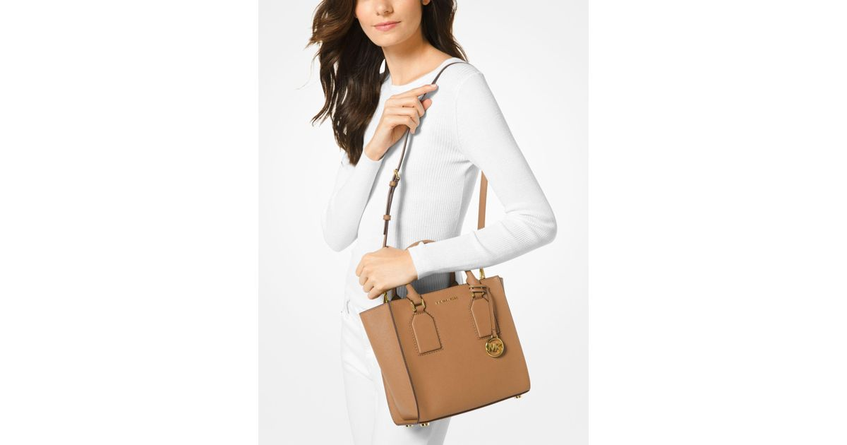 b6d84930bced ... sweden lyst michael kors selby saffiano leather crossbody in brown  79f8c e298f