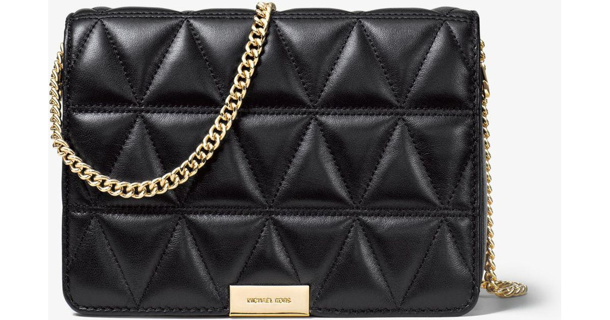 51d7cf9f9f Michael Kors Jade Quilted-leather Clutch in Black - Lyst