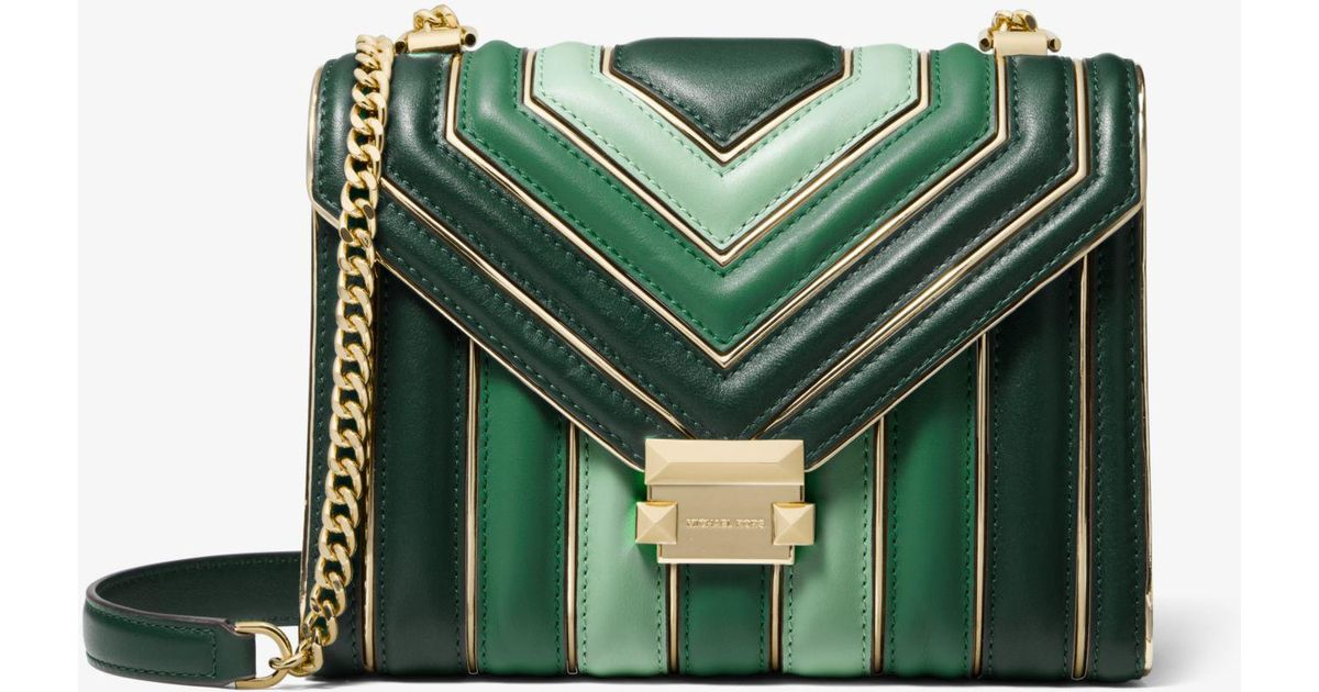67ee7871720cd Lyst - Michael Kors Whitney Large Quilted Tri-color Leather Convertible  Shoulder Bag in Green